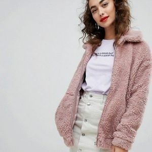 ASOS New Look Teddy Faux fur Bomber Jacket Coat